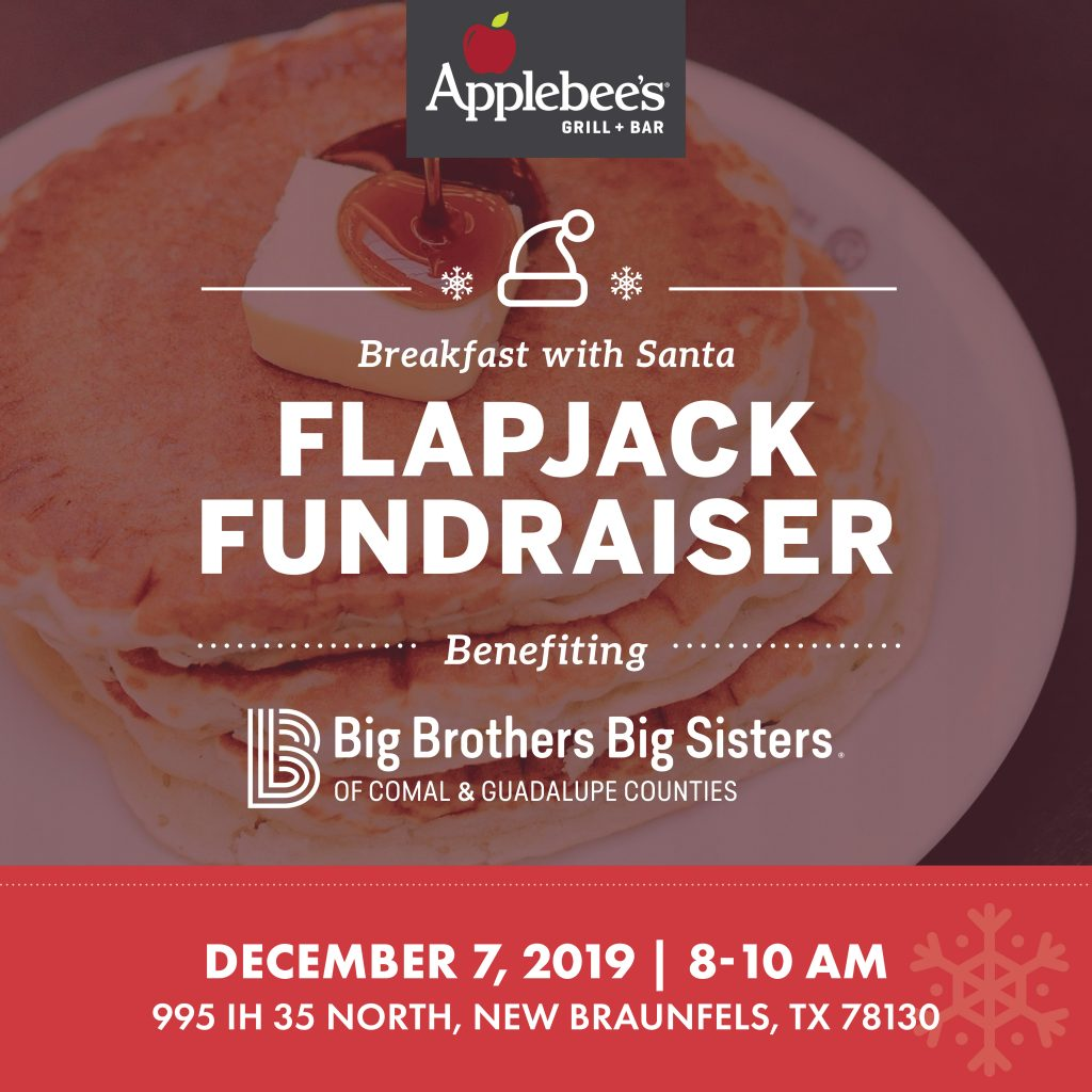 Applebee's Breakfast with Santa Flapjack Fundraiser benefiting Big Brothers Big Sisters of Comal & Guadalupe Counties.