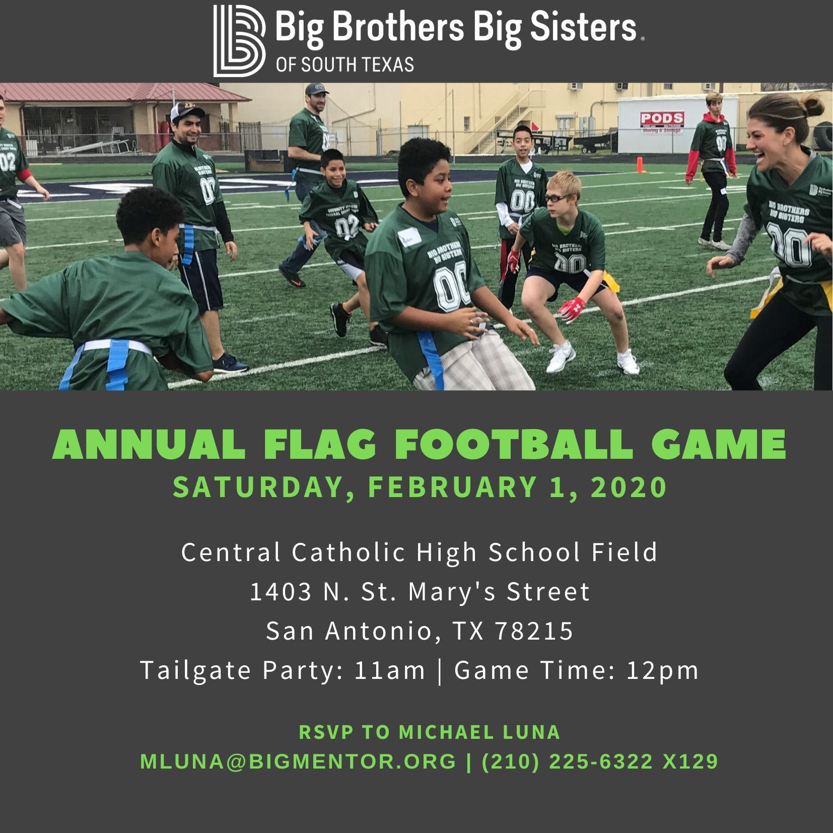 2020 bbbs flag football event graphic