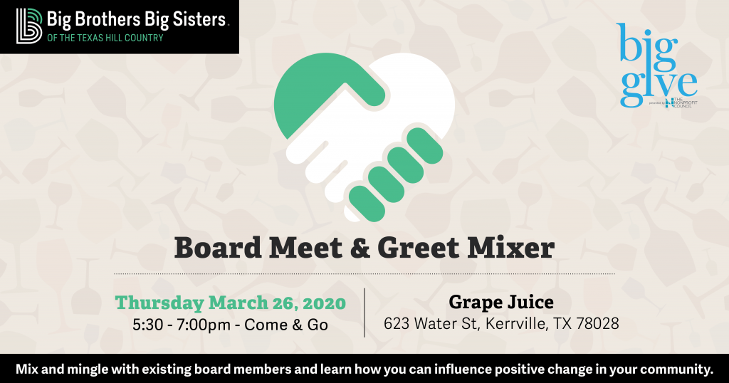 Promotional image - board Meet & Greet Mixer for Big Brothers Big Sisters of the Texas Hill Country.