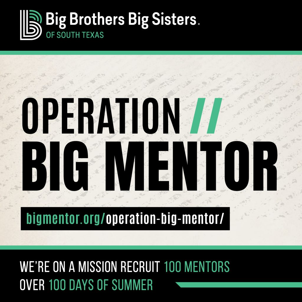 operation big mentor recruitment graphic. we are on a mission to recruit 100 mentors over 100 days of summer