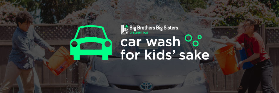 Car Wash for Kids' Sake Promo image. Kids rinsing a car with buckets of water.